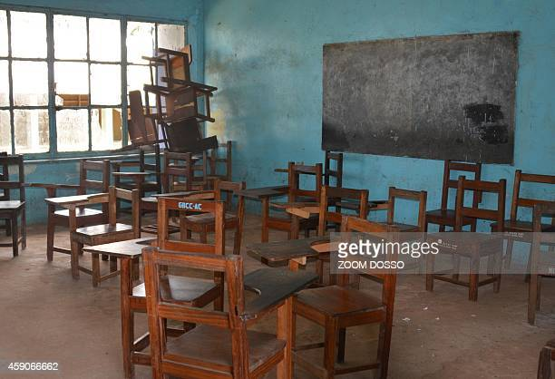 A picture taken on October 4 2014 show an empty classroom of Bassa High school in Buchanan the largest grade school in the second port city of...