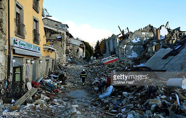 A picture taken on October 4 2016 shows destruction in the village of Amatrice that was rattled by an earthquake on August 24 claiming nearly 300...