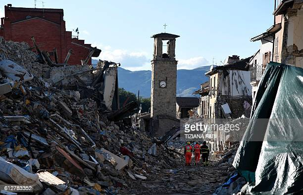 TOPSHOT A picture taken on October 4 2016 shows destruction in the village of Amatrice that was rattled by an earthquake on August 24 claiming nearly...