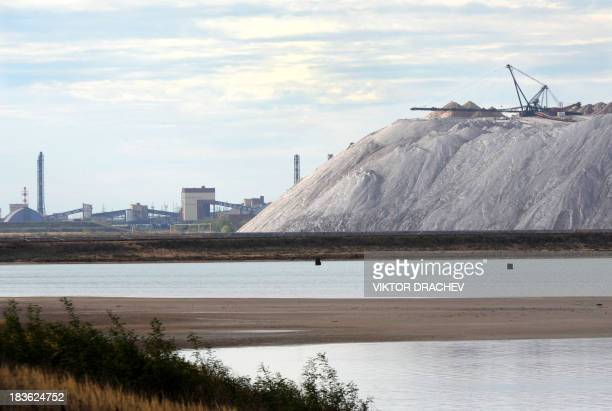 A picture taken on October 6 shows a general view of Belaruskali potash mines near the Belarus town of Soligorsk some 130 km south of the capital...