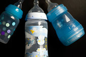 A picture taken on October 8 2012 in Paris shows baby bottles One year after the National Assembly the French senate will exam on October 9 a...