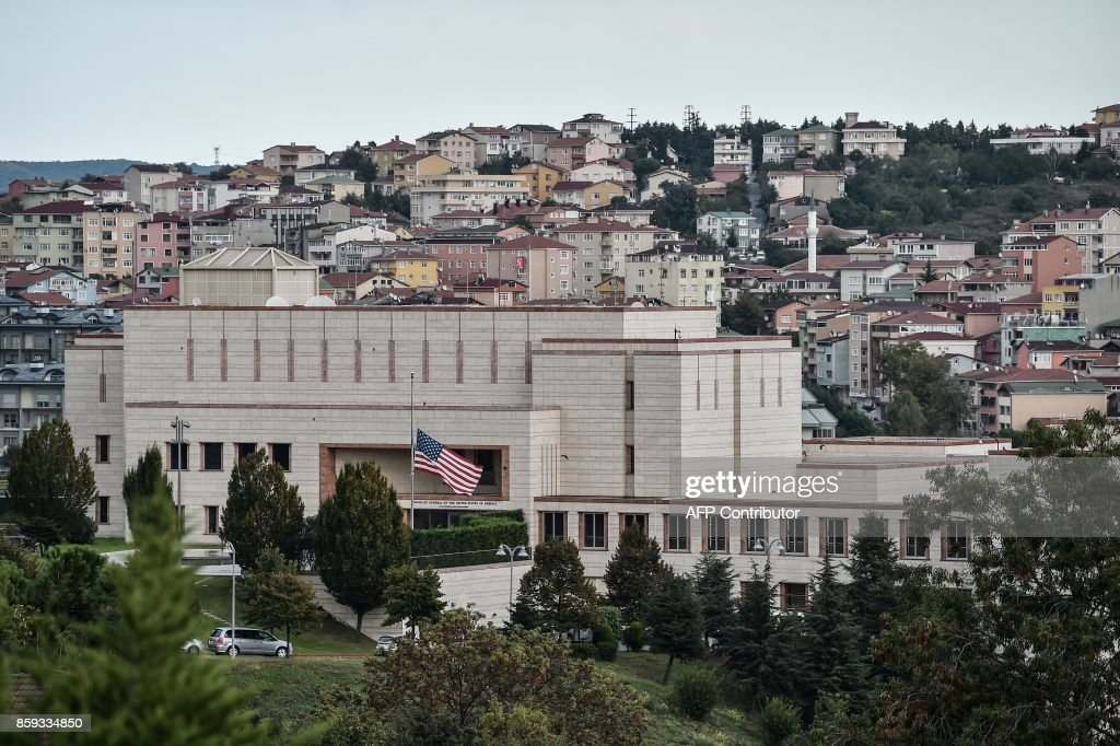 A picture taken on October 9, 2017 shows a general view of US consulate in Istanbul. Turkey on October 9, 2017 urged the United States to reverse a decision to halt the issuing of all regular visas at American consulates in the country, in a row that risks a major crisis. Ankara hit back at the US move -- sparked by the arrest of an Istanbul consulate staffer -- with a similar halt by Turkey's missions in the US. Analysts warned the dispute risked becoming the most serious row between the two NATO allies in decades. /