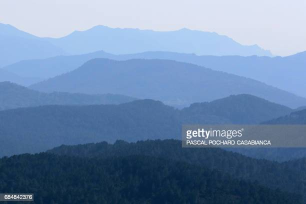 A picture taken on on April 4 2017 shows the view from Bavella pass close to the GR20 trek in the Bavella Mountains in Zonza on the French...