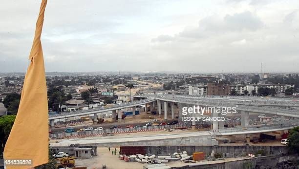 A picture taken on September 1 2014 shows the construction site of the Marcory interchange in Abdijan The interchange is one of Ivory Coast's...