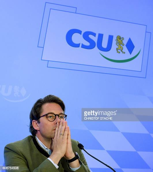 Picture taken on September 10 2016 shows Andreas Scheuer secretary general of Germany's Christian Social Union party attending a press conference at...