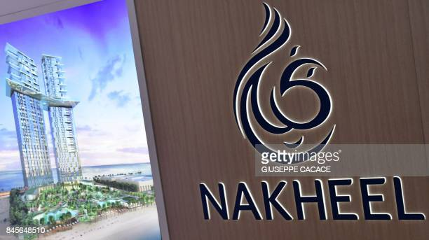 A picture taken on September 11 2017 shows a Nakheel logo on display during the Cityscape Global Dubai's premier property show in Dubai / AFP PHOTO /...