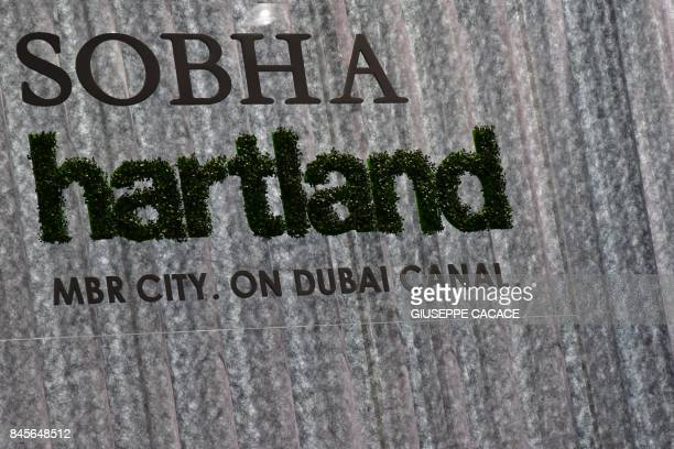 A picture taken on September 11 2017 shows a SOBHA logo on display during the Cityscape Global Dubai's premier property show in Dubai / AFP PHOTO /...