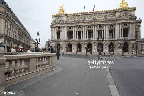 A picture taken on September 13 2015 in Paris shows the Place de l'Opera without road traffic ahead a carfree day throughout the city on September 27...