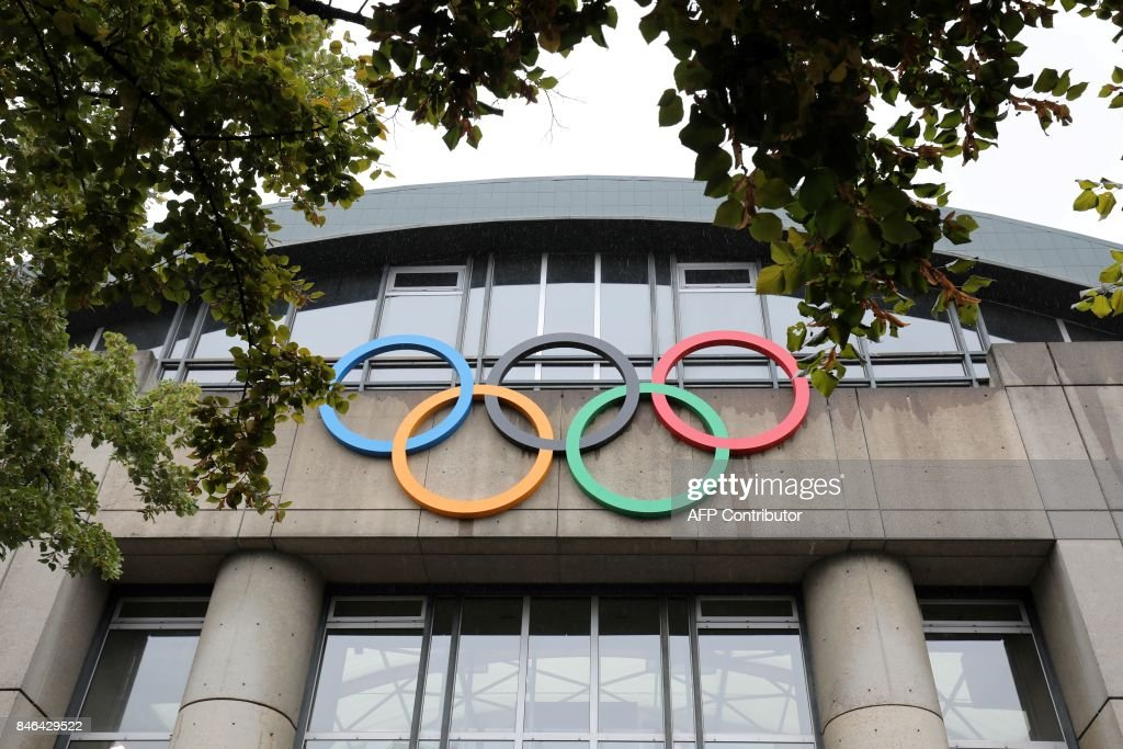 a picture taken on september 13 2017 shows olympic rings on the olympic swimming pool