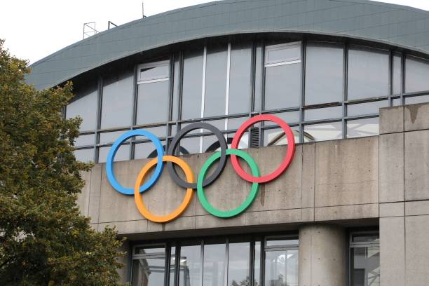 a picture taken on september 13 2017 shows olympic rings on the olympic swimming pool georges vallerey