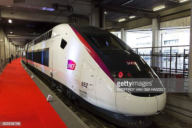 A picture taken on September 14 2016 at the Gare de Montparnasse train station in Paris shows the new TGV high speed train called Euroduplex L'Oceane...