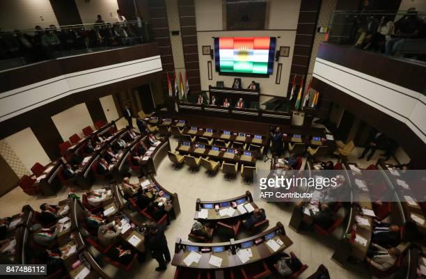 A picture taken on September 15 2017 shows a general view of Kurdish MPs sitting during a session of Kurdistan's regional parliament in Arbil the...