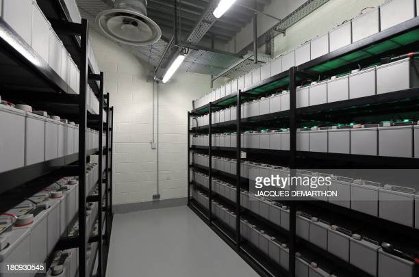 A picture taken on September 17 2013 in SaintDenis outside Paris shows a room electric battery power servers at the French branch of Digital Realty a...