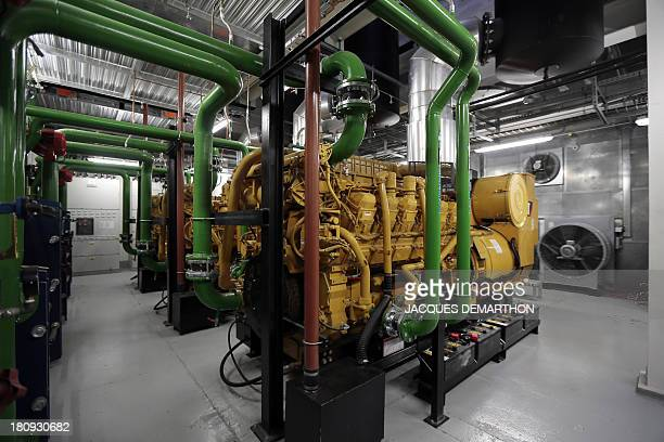 A picture taken on September 17 2013 in SaintDenis outside Paris shows a room of emergency generators at the French branch of Digital Realty a...