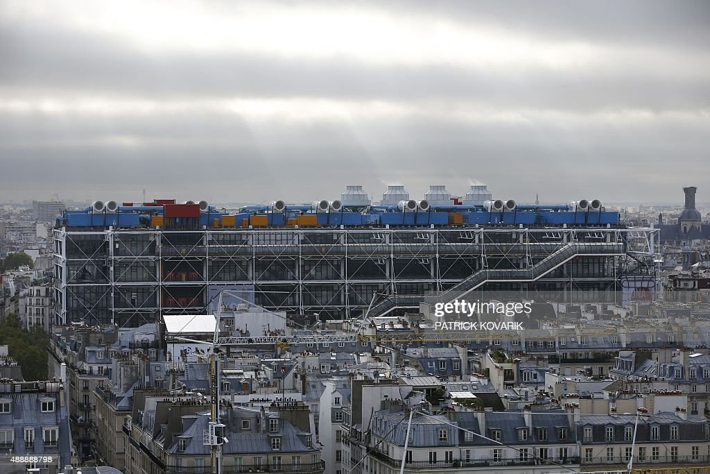 A picture taken on September 18 2015 from the roof of the SaintEustache church shows a view of the center Georges Pompidou also know as Beaubourg in...