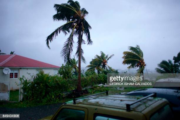 A picture taken on September 19 2017 shows the powerful winds and rains of hurricane Maria battering the city of PetitBourg on the French overseas...