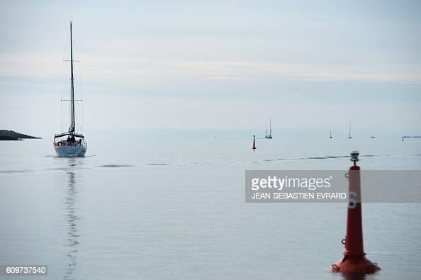 A picture taken on September 22 2016 shows a boat sailing off La TrinitesurMer western France / AFP / JEANSEBASTIEN EVRARD