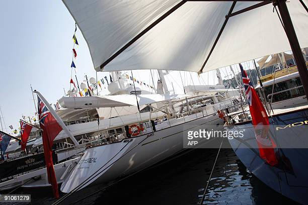 A picture taken on September 23 2009 in Monaco south of France shows yachts during the International Monaco Yacht Show exclusively devoted to...