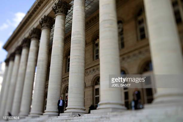 A picture taken on September 23 2011 in Paris with a tilt and shift lens shows the Palais Brongniart the former Paris' stock markets location Shares...