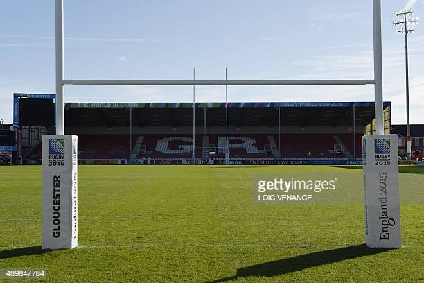 A picture taken on September 24 2015 during the Rugby World Cup 2015 shows the pitch at Kingsholm stadium in Gloucester AFP PHOTO / LOIC VENANCE