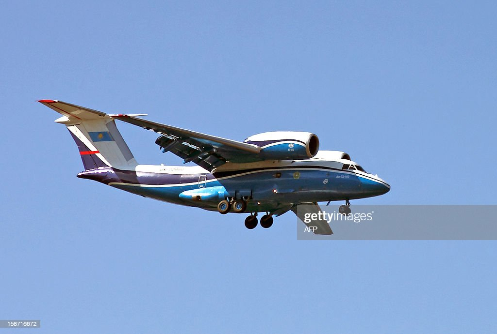 A picture taken on September 24, 2011, shows a An-72 military transport jet of the Kazakhstan's federal border service descending at Almaty airport. The same type plane of the same service has crashed yesterday near Shymkent in southern Kazakhstan killing all 27 people aboard of the aircraft, including the acting head of the Kazakh federal border service, Turganbek Stambekov, and his wife.