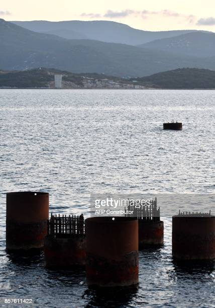 Picture taken on September 25 shows a part of a support structure at the construction site of 'Peljesac' bridge near village of Komarna on Croatian...