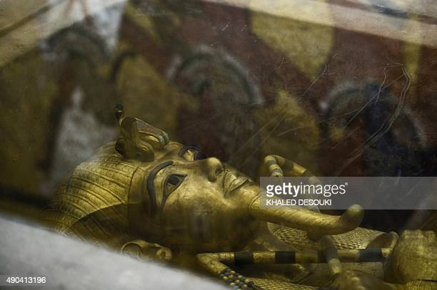 A picture taken on September 28 2015 shows the golden sarcophagus of King Tutankhamun in his burial chamber in the Valley of the Kings close to Luxor...