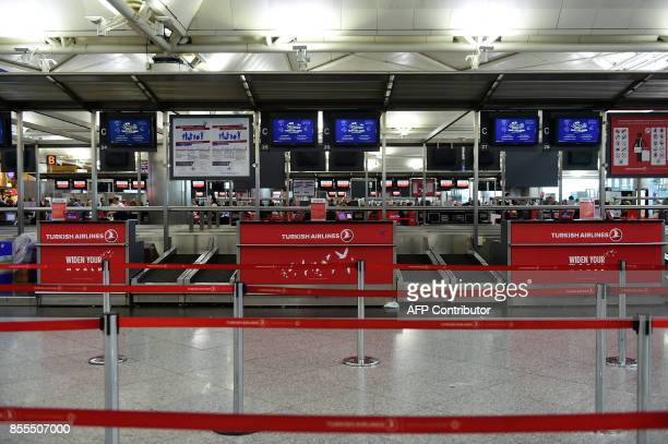 A picture taken on September 29 2017 shows empty checkin area at Ataturk International airport in Istanbul A ban on international flights into Iraqs...