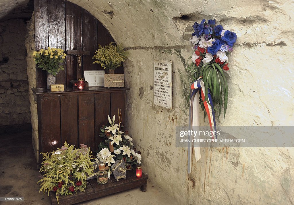 A picture taken on September 3, 2013 shows an altar dedicated to World War I veterans at Fort Vaux in Vaux-devant-Damloup, eastern France. Built from 1881 to 1884, Fort Vaux was, after Fort Douaumont, the second fort to fall following an attack by German troops in the Battle of Verdun during World War I in 1916.