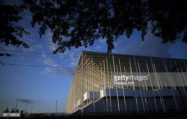 A picture taken on September 6 2015 shows the Matmut Atlantique stadium inaugurated as Nouveau stade de Bordeaux in Bordeaux on the eve of the...