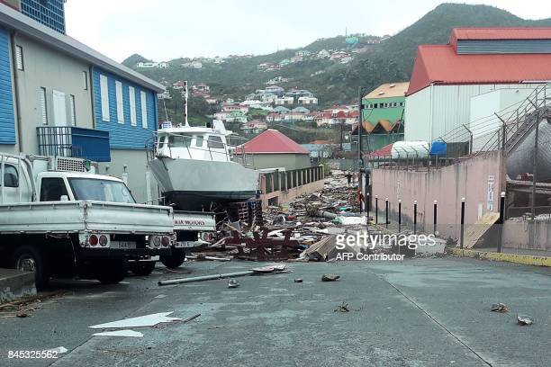 A picture taken on September 6 shows damage in Public near Gustavia on the French Caribbean island of SaintBarthelemy after it was hit by Hurricane...