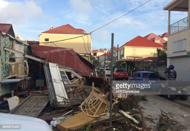 A picture taken on September 7 shows damages in Gustavia on the French Caribbean island of SaintBarthelemy after it was hit by Hurricane Irma At...