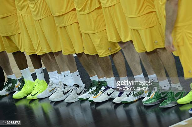 A picture taken prior to the Men's preliminary round group B basketball match of the London 2012 Olympic Games Australia vs Spain on July 31 2012 at...