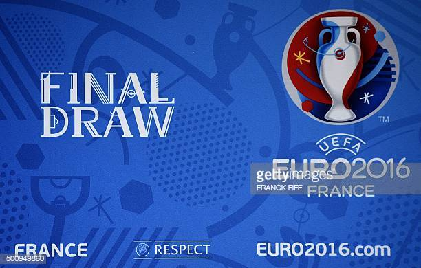 A picture taken shows a logo on the eve of UEFA Euro 2016 football championships draw in Paris on December 11 2015 The Euro 2016 football...