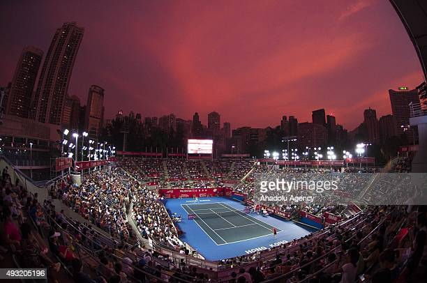 Picture taken with a fisheye lens General view of the court where Jelena Jankovic of Serbia plays against Angelique Kerber of Germany during their...