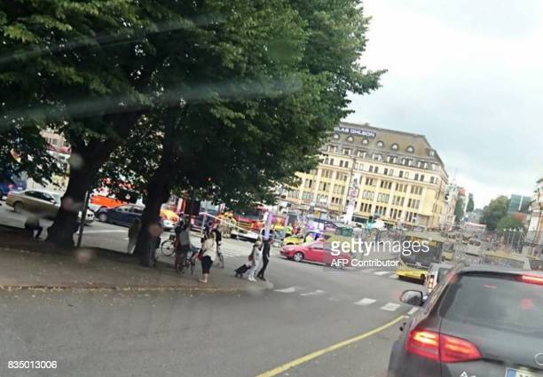 A picture taken with a smart phone shows the Market Square in Turku on August 18 2017 Several people were stabbed in the southwestern Finnish city of...