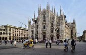 A picture taken with a tilt and shift lens shows a general view of the cathedral of Milan at the Piazza Duomo on September 18 2014 in Milan AFP PHOTO...