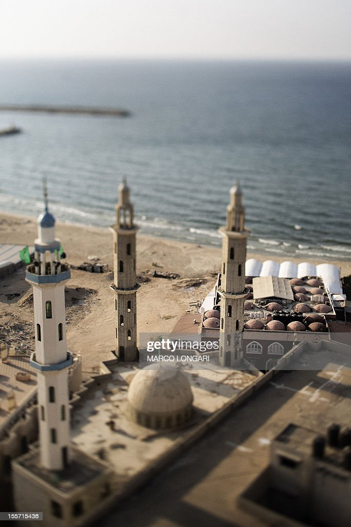 A picture taken with a tilt and shift lens shows the beachfront of Gaza City on November 7, 2012.