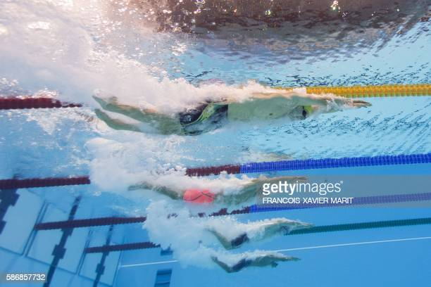 A picture taken with an underwater camera shows Australia's Mack Horton and China's Sun Yang compete in the Men's 400m Individual Medley Final during...