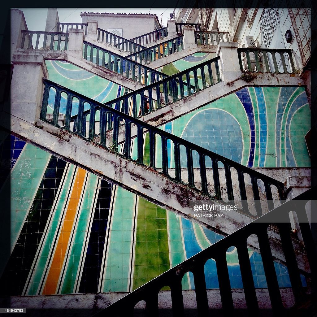 A picture taken with the Hipstamatic application shows stairs in the capital Algiers, on April 15, 2014. AFP PHOTO/PATRICK BAZ
