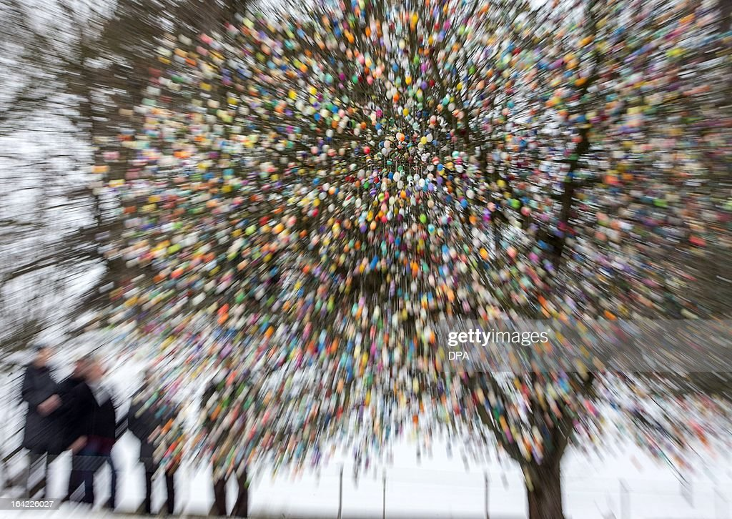 Picture taken with zoom effect shows an apple tree decorated with thousands of Easter eggs on March 18, 2013 in Saalfeld, eastern Germany. More than 10,000 eggs hang on the tree standing in a private garden. AFP PHOTO / Michael Reichel GERMANY OUT