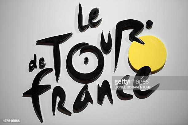 Picture takenon October 22 2014 in Paris of the logo of the Tour de France race during the presentation of the official route of the 2015 Tour de...