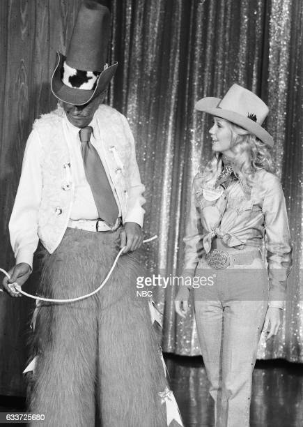 1973 Miss Rodeo America Pam Earnhardt teaching Guest Host McLean Stevenson to ride mechanical bull on August 29th 1975