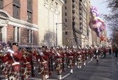 A marching band performs during the 1996 Macy's Thanksgiving Day Parade Photo by NBCU Photo Bank