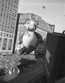 A rooftop view of the 1946 Macy's Thanksgiving Day Parade