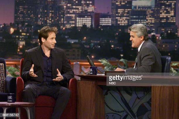 Actor David Duchovny during an interview with Host Jay Leno on May 25th 2001