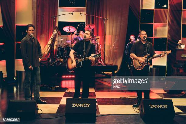 Actor David Duchovny performing with musical group Barenaked Ladies on February 26 1999