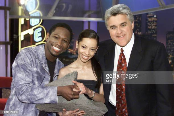Actor Guy Torry and Fiancee Monica Askewposing with Host Jay Leno on June 6th 2001