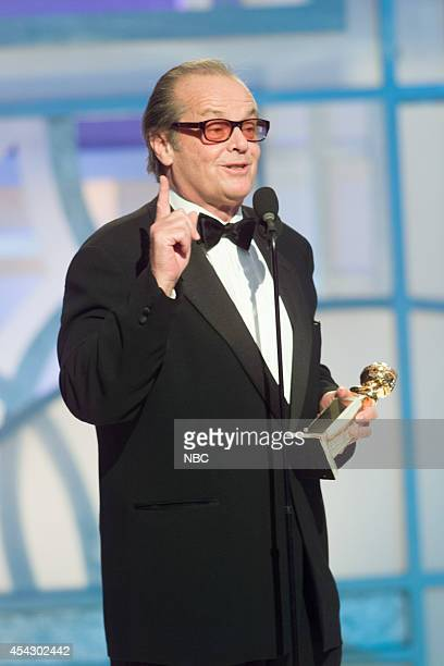 Actor Jack Nicholson accepts the award for Best Actor in a Motion Picture Drama for 'About Schmidt' during the 60th Annual Golden Globe Awards held...