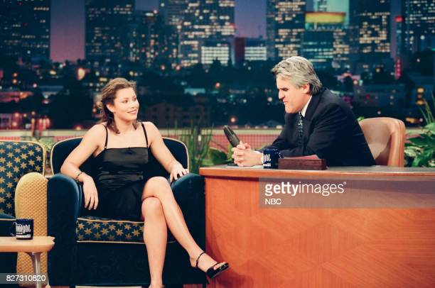Actor Jessica Biel during an interview with host Jay Leno on April 1 1999